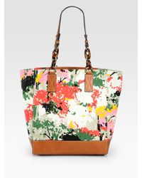 MILLY | Multicolor Birch Printed Canvas & Leather Market Tote Bag | Lyst