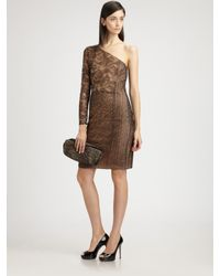 Akris | Brown Patchwork Lace Dress | Lyst