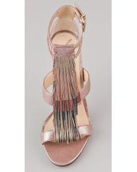 B Brian Atwood - Lenoire Metallic Fringe Sandals - Lyst