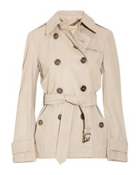 Burberry Brit | Natural Sandwashed-leather Trench Coat | Lyst