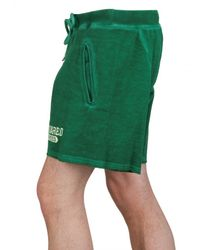 DSquared² - Green Cracked Print Cotton Fleece Sweat Shorts for Men - Lyst