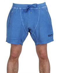 DSquared² | Blue Paint Spots Cotton Fleece Sweat Shorts for Men | Lyst