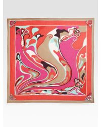 Emilio Pucci - Pink Oversized Orchidee Print Scarf - Lyst