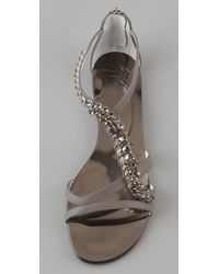 Giuseppe Zanotti | Gray Jeweled Flat Sandals | Lyst