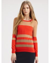 Marc By Marc Jacobs Red Striped Cotton Devore Sweater