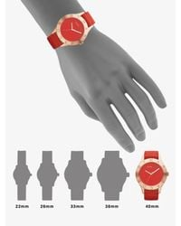 Marc By Marc Jacobs | Rose Goldtone Ion-plated Logo Matte Leather Watch/red | Lyst