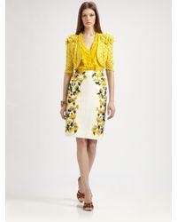 Oscar de la Renta | Yellow Crocheted Silk Bolero | Lyst