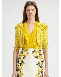 Oscar de la Renta - Yellow Crocheted Silk Bolero - Lyst