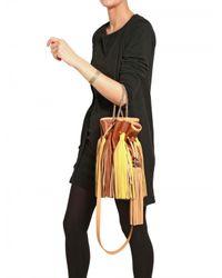 Sara Battaglia | Brown Two Tone Tassel Bucket Shoulder Bag | Lyst