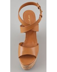 Sergio Rossi - Brown Cork-wedge Leather Sandals - Lyst