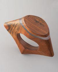 Donna Karan - Brown Sculpted Wood Bangle - Lyst
