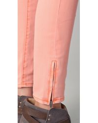 Free People - Pink Milenium Cropped Colored Skinny Jeans - Lyst