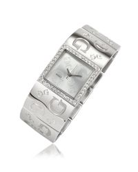 Guess - Metallic Square Dial All Over Logo Watch - Lyst