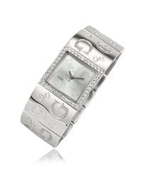 Guess | Metallic Square Dial All Over Logo Watch | Lyst