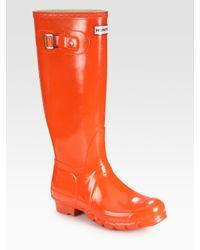 Hunter | Orange Gloss-finish Original Rain Boots | Lyst