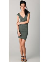 James Perse | Green Cap Sleeve Deep V Dress | Lyst