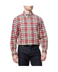 J.Crew - Red Madras Check Cotton Shirt for Men - Lyst