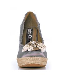 Juicy Couture - Gray Stone Satin Espadrille Wedge - Lyst