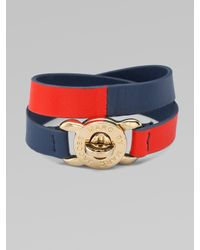 Marc By Marc Jacobs | Red Double-wrap Turn-lock Leather Bracelet | Lyst