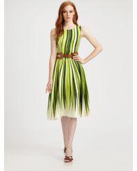 Oscar de la Renta | Green Silk Palm Print Dress | Lyst