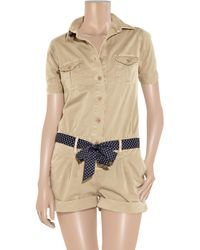 Paul & Joe - Natural Belted Cotton-twill Playsuit - Lyst