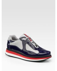 Prada | Black Americas Cup Patent Leather Sneakers for Men | Lyst