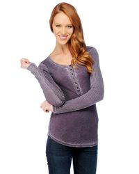 Splendid | Purple Distressed Thermal Henley | Lyst