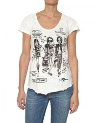 Sweet Matilda | White Skull Print Slub Cotton T-shirt | Lyst