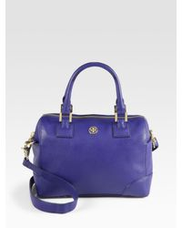 Tory Burch | Blue Robinson Saffiano Leather Mini Satchel | Lyst