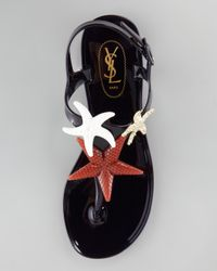 Saint Laurent Blue Starfish Jelly Thong Sandal