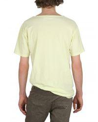 Balmain - Yellow Distressed Jersey Deep Neck T-shirt for Men - Lyst