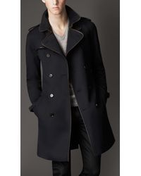 Burberry | Blue Leather Trim Trench Coat for Men | Lyst
