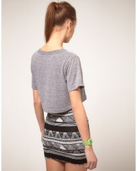 American Apparel - Gray Loose Cropped T Shirt - Lyst