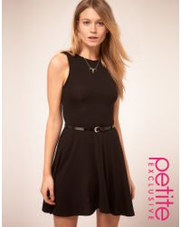 ASOS Collection | Black Asos Petite Skater Dress with Belt | Lyst