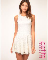 ASOS Collection - Natural Asos Petite Exclusive Lace Skater Dress - Lyst