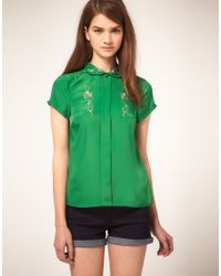 ASOS Collection | Green Asos Embroidered Blouse with Peter Pan Collar | Lyst