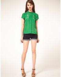 ASOS Collection - Green Asos Embroidered Blouse with Peter Pan Collar - Lyst