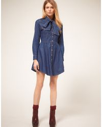 ASOS Collection | Blue Asos Petite Exclusive Denim Dress with Pussybow | Lyst