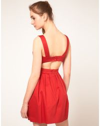 ASOS Collection | Red Asos Skater Dress with Cut Out Back | Lyst