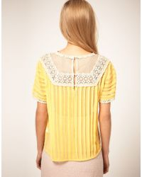 ASOS Collection - Yellow Asos Blouse with Pleating and Lace Yoke - Lyst