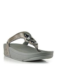 Fitflop | Lunetta - Pewter Metallic Leather Jeweled Thong Sandal | Lyst