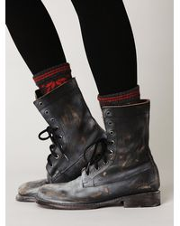 Free People - Black Painted Distress Boot - Lyst