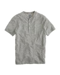 J.Crew | Gray Jaspé Short-sleeve Henley for Men | Lyst