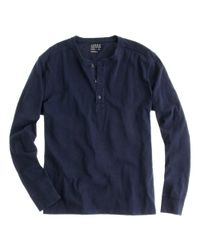 J.Crew | Blue Slub Cotton Henley in Slim Fit for Men | Lyst