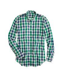 J.Crew | Green Secret Wash Lightweight Shirt in Fallon Check for Men | Lyst