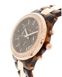 Michael Kors | Brown Two Tone Tortoiseshell Chronograph Watch | Lyst