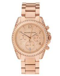 Michael Kors | Metallic Blair Mk5263 Rose Gold Chronograph Watch | Lyst