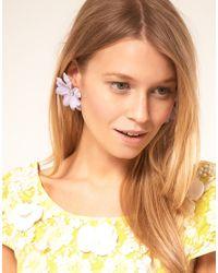 ASOS - Purple Fabric Flower Stud Earrings - Lyst