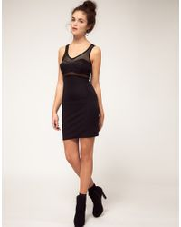 River Island | Black Airtex Structured Dress | Lyst