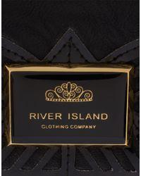 River Island - Black Deco Detail Purse - Lyst